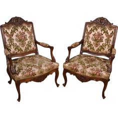 ~ Exceptional Pair of Antique Upholstered Louis XV Style Arm Chairs Solid Mahogany Frame ~ rubylane.com