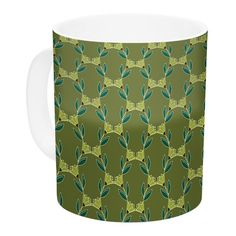 East Urban Home Flora Vine by Holly Helgeson 11 oz. Olive Ceramic Coffee Mug