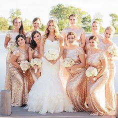 We can never get enough of these gorgeous @badgleymischka bridesmaid gowns! || Photography:  Julia Fay Photo