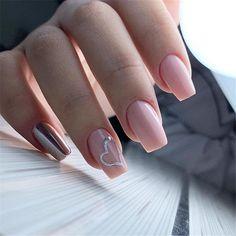 fashionable Coffin Nail trends - Page 127 of 157 - Inspiration Diary Sassy Nails, Trendy Nails, Heart Nail Designs, Nail Art Designs, Pink Acrylic Nails, Pink Nails, Nail Art Coeur, Simple Gel Nails, Valentine Nail Art
