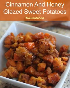 Cinnamon And Honey Glazed Sweet Potatoes Recipe - a perfect side dish for your Thanksgiving dinner or any time of year!
