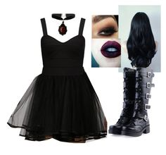 """Love those boots."" by wednesday-addams-xx ❤ liked on Polyvore"