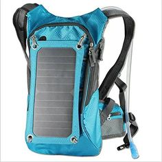 Ergonomic Solar Charger Backpack (7W), Hydration Pack Backpack (2L Bladder Bag), With Removable Solar Panel Charging for iPhone 6 plus 5s 5c 5 4s 4, ipad mini, Samsung Galaxy S5 S4 S3, Blackberry and Other USB Compatible Devices (Blue) * Check out this great product.