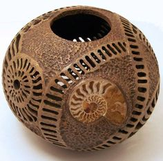 """I don't know where these gourds come from.Gourd Art - """"Ammonite gourd"""" by Phyllis Sickles Decorative Gourds, Hand Painted Gourds, Coconut Shell Crafts, Gourd Lamp, Sculpture, Dremel, Wood Turning, Ceramic Pottery, Arts And Crafts"""