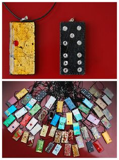 Upcycled domino with Swarovski stones !   ++ More information at Metamorphosis Art website ! Idea sent by Graciela Stinnes ! #Domino, #Jewelry, #Pendant, #Recycled, #Stone, #Upcycled