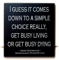 Get Busy Living or Get Busy Dying Shawshank Redemption wood sign Quotable Quotes, Motivational Quotes, Inspirational Quotes, Great Quotes, Quotes To Live By, Movie Quotes, Life Quotes, Before Us, Business Quotes