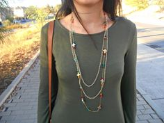 blogger, inspiration, ideas, autumn, girl, necklace, green, ootd, look, outfit