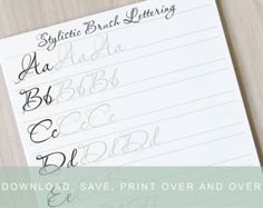 Brush Lettering Worksheets Lower with Swashes by InkMeThis on Etsy