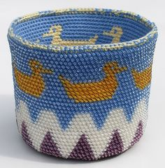 Get Your Ducks in a Row Bead Tapestry Crochet Basket by tapestrycrochet, free Ravelry download