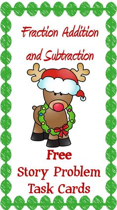 Give your students the fun, holiday themed practice they need with fraction addition and subtraction with this free set of task cards! Addition Of Fractions, Math Fractions, Addition And Subtraction, Fun Math, Math Activities, Math Resources, Teaching Math, Teaching Ideas, Creative Teaching