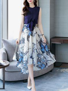 Two Piece Sleeveless Asymmetric top with pants Cute Dresses, Casual Dresses, Fashion Dresses, Formal Dresses, Elegant Dresses Classy, Classy Dress, Stitching Dresses, Vetement Fashion, Asymmetrical Tops