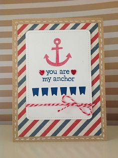 Lawn Fawn - Float My Boat, Stitched Journaling Card Lawn Cuts dies _ You Are My Anchor card by Fiona via Flickr - Photo Sharing!