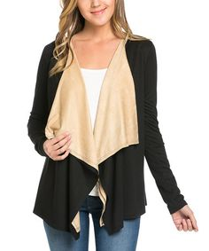 Another great find on #zulily! Black & Camel Open Cardigan #zulilyfinds