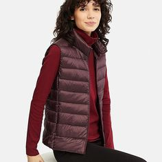 Check out our women's ultra light down vests in a variety of colors and sizes. These thin, light, warm vests are water-repellant and compact - order now. UNIQLO US. Vest Outfits For Women, Clothes For Women, Winter Fashion Outfits, Women's Fashion Dresses, Fashion Clothes, Uniqlo Outfit, Down Vest, Active Wear For Women, Downlights