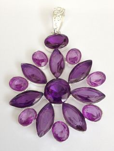 Amethyst pendant silver hand made jewellery 925 sterling bobin boutique new