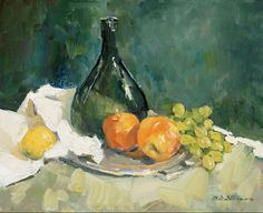 Green bottle, grapes and oranges See more at:  http://www.DianeStoneArt.com #oilpainting #paintings #art