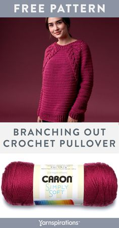 Yarnspirations is the spot to find countless free experienced crochet patterns, including the Caron Branching Out Crochet Pullover, XS/S. Browse our large free collection of patterns & get crafting today! Crochet Coat, Crochet Blouse, Cute Crochet, Crochet Clothes, Crochet Sweaters, Caron Simply Soft, Crochet Pullover Pattern, Knitting Patterns, Crochet Patterns