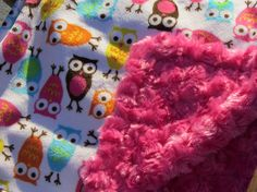 Minky Blanket Carnival Owl Minky Print with Pink Cuddle by BabyBin, $34.00