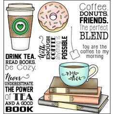 These clear photopolymer stamps come on a backing sheet measuring approximately x 4 inches. Donut Friend, Coffee Doodle, Coffee And Donuts, Stationery Craft, Coffee Cards, Vinyl Paper, Card Sentiments, Coffee And Books, Dibujo