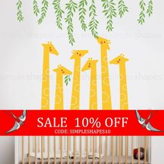 Sale  Giraffe Wall Decal Baby Nursery Designs by SimpleShapes