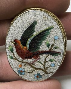 Superb Quality Antique Fine Micro Mosaic Brooch Gold Frame Bird Branch Flowers