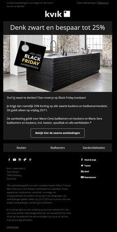 KVIK kitchen - Op Black Friday biedt KVIK met deze e-mail een mooie korting op alle zwarte keukens en badkamermeubels.