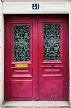Pink Ornate Door, Paris