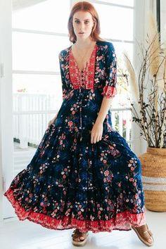 1366e39e0aa Tessa - Elyse Maxi Dress · BohoBohemian StyleDrawstring WaistFull  SkirtsNecklineShort Sleeve ...