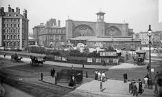 Exterior of King's Cross Station Photo by English Heritage Taken many a train from here! Camden London, Old London, London History, Local History, British History, Family History, London Architecture, Vintage London, Victorian London