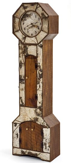Grandfather Clock Birch Bark and Barnwood by Woodland Creek Furniture.