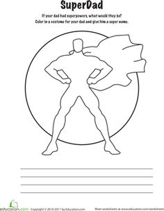 Father's Day Second Grade Holiday Handwriting Worksheets: Super Dad Coloring Page