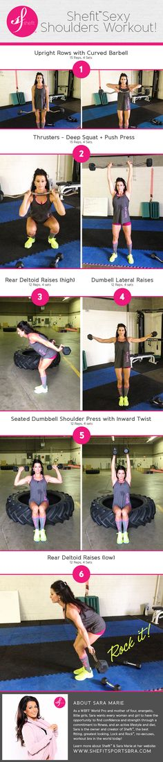 Sexy Shoulders Fitness Workout! by WBFF Pro, Sara Marie, for Shefit™ sports apparel. Patent-pending front zip closure easy on and off sports bra. from $70 http://shop.shefit.com/collections/all-products/products/shefit-sports-bra