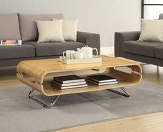 Jual Furnishings JF302 Rectangle Coffee Table - Oak - This contemporary table with its High Polished chrome legs offers a practical storage area for magazines, TV remotes and all your everyday items - Matching Lamp Tables and TV Stands available in this range to complete your desired look.