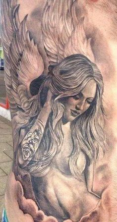 Tattooed angel, tattoo.- I love this idea - @proulxjustice #yourstory #bodyart #tattoo
