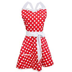 Syntus Lovely Sweetheart Red Retro Kitchen Cooking Aprons, Women Cotton Polka Dot Adjustable Apron Waitress with Pocket for Halloween Christmas Dress Party Costume Ball. Cooking Aprons, Blue Maxi, Indian Bollywood, Halloween Christmas, Skirts With Pockets, Dress Party, Costumes For Women, Polka Dots, Two Piece Skirt Set