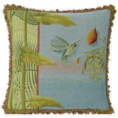 "Hummingbird Blue 19"" Square Pillow"