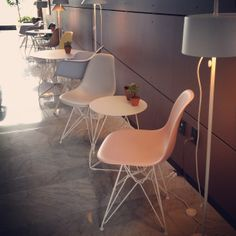 ICFF 2014 - New Pastel Eames Molded Plastic Side Chairs with White wire bases and Polygon Tables