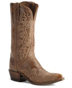Lucchese Boots - Handcrafted 1883 Rust Lunar Calf Cowboy Boots - Snip Toe