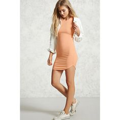 Forever21 Mini Bodycon Dress ($8.90) via Polyvore featuring dresses, cantaloupe, curved hem bodycon dress, forever 21, body conscious dress, round neck dress y forever 21 dresses