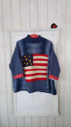 Proud Lagenlook Loose Fitting Upcycled Winter Soft Warm Top Felt Decorations, New Love, Boho Fashion, My Design, Upcycle, Polka Dots, Stripes, Warm, Pullover
