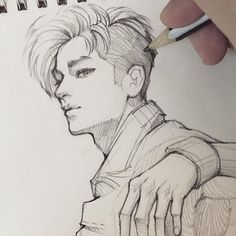 """Fan art of lee tae-yong (이태용) of nct 127 from their """"fire tr Anime Drawings Sketches, Pencil Art Drawings, Anime Sketch, Boy Sketch, Boy Drawing, Sketch Drawing, Arte Sketchbook, Art Tutorials, Art Inspo"""