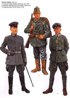 DEUTSCHES HEER - Germania 1914-16 - 1 Leutnant, 2° Flieger Btl. 1914 - Gemeine, Bavarian FFA 2, 1914 - 3 Feldwebel pilot, FA 62, 1916