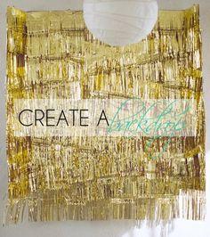 DIY Gold Fringe backdrop for pictures #oscars #academyawards #party