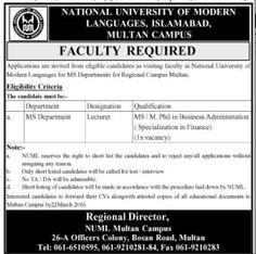 National University of Modern - Jobs in Pakistan, Karachi, Lahore, Rawalpindi, Islamabad, Peshawar; published in Jang, Express