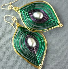 Deep Emerald Green and Gold Peacock Earrings Free US by Woojoo, $35.00