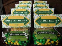 Double the fun baby shower! - cute DoubleMint gum favor idea! (eyelet & ice cream blog)