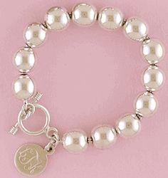 Sterling Large Beaded Monogrammed Charm Bracelet