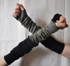 Extra Long Creased Grey Black Arm Warmers Gloves Mittens Fingerless Upcycled Clothing Funky Wrapped Wrists Cuffs Eco Style Woman's Clothing. $25.52, via Etsy.