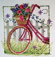 Embroidery Stitches Tutorial Vintage Bicycle by Leslie Teare Chart size in stitches: 112 x 112 (wide x high) Needlework fabric: Aida, Linen or Evenweave Stitches: Cross stitch, Backstitch, French knots Chart: Color Number of colors: 25 - Learn Embroidery, Cross Stitch Embroidery, Embroidery Patterns, Hand Embroidery, Simple Embroidery, French Knot Stitch, French Knots, Cross Stitch Designs, Cross Stitch Patterns