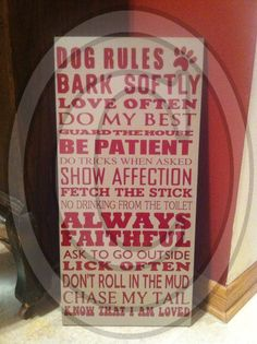 Dog Rules Subway art sign  by Vinylcr8tions on Etsy, $25.00